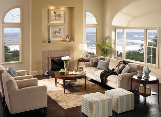 encompass by pella living room single hung windows with fixed and arch head